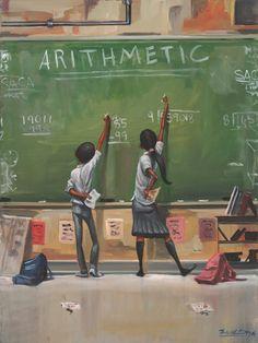 Arithmetic by Frank Morrison --Black Art. Black Love Art, Black Girl Art, Black Girls, Caricatures, Frank Morrison Art, Kadir Nelson, African American Artwork, Black Art Pictures, Pretty Pictures
