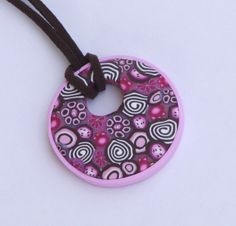 Round pendant necklace in brown and pink polymer by PolyAndClayed, $18.00