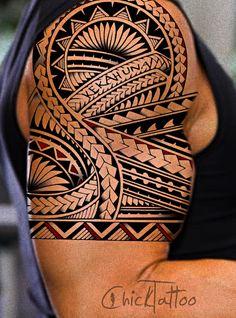 polynesian tattoos | Specializing in Polynesian Style Tattoo Designs by ChickTattoo #maoritattooshombro