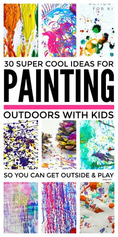 Painting outdoor activities for kids that will let them get outside and play to burn off energy whilst being creative and making their own process art with everything from water pistols and old trikes to balls and balloons. #paintingwithkids #paintingactivities #outdoorplay #outsideactivitiesforkids Outdoor Fun For Kids, Outdoor Activities For Kids, Fun Crafts For Kids, Projects For Kids, Art For Kids, Outdoor Learning, Summer Crafts, Outdoor Ideas, Art Projects