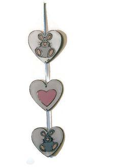 Mobile rabbit and hearts - Decoration hearts - Mobile Easter bunny - Mobile rabbit shabby chic de la boutique LULdesign sur Etsy