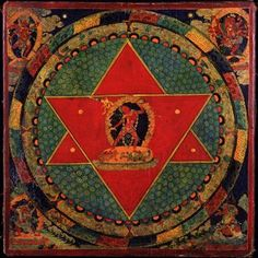 """Vajrayogini Mandala, Tibet; 18th century, Rubin Museum of Art    The mandala is an archetypal image whose occurrence is attested throughout the ages. It signifies the wholeness of the Self. This circular image represents the wholeness of the psychic ground or, to put it in mythic terms, the divinity incarnate in man.""""      Memories, Dreams and Reflections  Pages 334-335"""