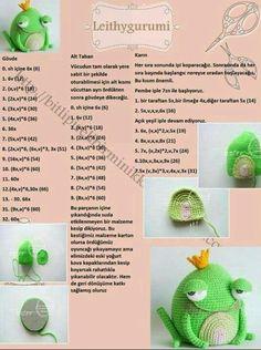 Amigurumi örgü oyuncak taçsız kral kurbağa tarifi