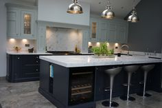 One of our favourite kitchens we have done - our beautiful 1909 In-Frame kitchen in Charcoal and Partridge Grey - an absolute stunner! Gods Kitchen, New Kitchen, Kitchen Ideas, Kitchen Images, Kitchen Showroom, Kitchen Interior, Charcoal Kitchen, Kitchen Diner Extension, Open Plan Kitchen Living Room