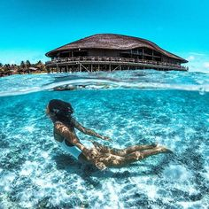 Mermaids in the Maldives featuring @marisahampe split shot with the new @go_dome #GoPro #maldives #hero5