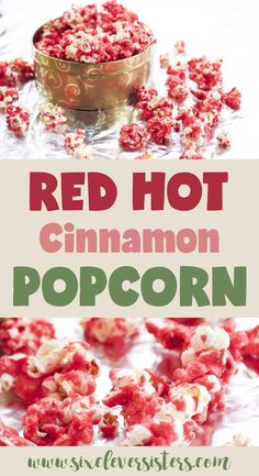 This unique sweet, cinnamon popcorn recipe is always a crowd pleaser! Take it to your next holiday gathering for a fun, festive treat! Go to Six Clever Sisters for the recipe. Holiday Snacks, Christmas Snacks, Party Snacks, Holiday Recipes, Christmas Candy, Christmas Cookies, Christmas Appetizers, Fall Recipes, Sweet Recipes