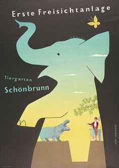 Schönbrunn Zoo Vintage Poster