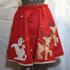 Ugly Christmas Sweater Party Red Felt Circle Skirt by Dicardomy, $49.99