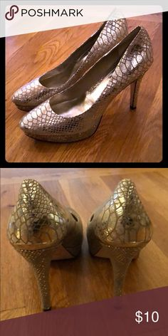 05353a930277 White House Black Market silver scale heels 10M Pictured is a pair of  women s size 10M