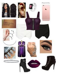"""""""A Night in Purple & Black or White"""" by aryannaaaa on Polyvore featuring WearAll, Mike Saatji, Suzanne Kalan, Thierry Mugler, BERRICLE, Yves Saint Laurent and Stuart Weitzman"""