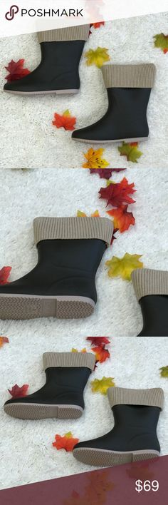 🎉BFCM SALE🎉 Olive Tan Weather Boots Ahh these are sooo beautiful! These can double as rain and snow boots! They are waterproof. The top part does come off, so you can monogram the collar or you can just wear without it. They're so perfect for fall and winter! These run about a half size small and only come in full sizes. No trades. These are olive and tan. Kyoot Klothing Shoes Winter & Rain Boots