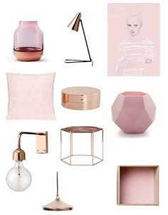 Blush Copper Interior Decorating Mood Board - created on My New Room, My Room, Copper Interior, Orange Interior, Deco Rose, Copper Decor, Interior Inspiration, Bedroom Inspiration, Home Accessories