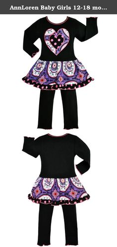 AnnLoren Baby Girls 12-18 mo Boutique Purple Passion Heart set Clothes. Be the talk of the party with this AnnLoren 2-Piece Purple Passion Heart Outfit! Set features a lovely Black Cotton Knit Dress, complete with a Purple Medallion printed skirt, and adorned with Polka Dot Heart Patch applique.Coordinating leggings are made with an elastic waistband for a comfortable fit. Made with 100% Cotton and Machine Washable. SKU: PASSION-FS-288LS.