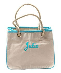 Turquoise Reliable Rope Monogram Tote by CB Station Marley Lilly, Monogram Tote, Turquoise, Cotton Canvas, Personalized Gifts, Gym Bag, Diaper Bag, Take That, Chanel