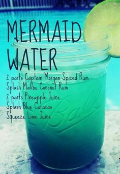 The Chic Technique: Mermaid Water drink recipe - Captain Morgan Spiced Rum, Malibu Coconut Rum, Pineapple Juice, Blue Curacao, Lime Juice Bar Drinks, Cocktail Drinks, Pool Drinks, Blue Cocktails, Disney Cocktails, Beach Cocktails, Disney Mixed Drinks, Frozen Drinks, Malibu Coconut