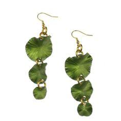 Amazon.com: John S Brana Handmade Three Tiered Annodized Aluminum Lime Green Lily Pad Earrings: Jewelry