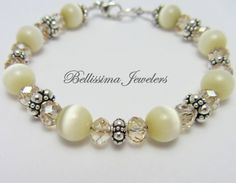 Glamorous Bracelet handmade with Genuine Bali Silver and Natural Cats Eye Beads by Bellissima Jewelers