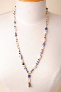Seaside - This unique handmade gemstone and pearl chunky necklace for women features kyanite, freshwater pearl, apatite made in our Floyd VA USA studio