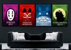 Studio Ghibli bunte Poster set, heulen Umzug Burg Poster, My Neighbor Totoro Poster, Spirited Away Poster Prinzessin Mononoke Poster,