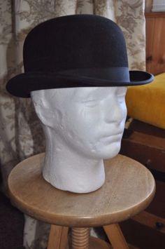 9b1ca2c53d9 Antique Vintage Black Bowler Hat by Dunn   Co