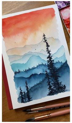 Watercolor Art Lessons, Watercolor Paintings For Beginners, Watercolor Art Diy, Watercolor Techniques, Acrylic Paintings, Watercolor Artists, Watercolor Sunset, Painting Lessons, Oil Paintings