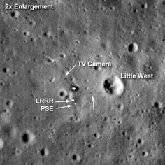 "Tranquility Base. (Credit: LRO, NASA) Neil Armstrong & Buzz Aldrin landed here on 20 July 1969. LRO found the lunar module and equipment that Aldrin had put out, such as the reflector (LRRR) for bouncing laser beams to measure the distance to the Moon. A faint trail in the lunar dust marked Armstrong's path to a nearby crater called Little West. Ian Ridpath, ""Exploring the Apollo Landing Sites"", http://www.bellaonline.com/articles/art29536.asp"