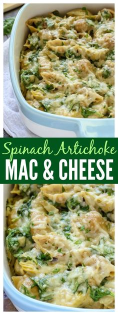 Green food recipe for St. Patrick's Day:  Spinach Artichoke Dip in Mac and Cheese form! A super cheesy, decadent, all-in-one dinner that's surprisingly good for you.