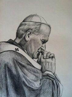 Saint Pope John Paul II praying. Original