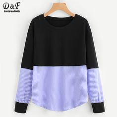 Dotfashion Contrast Stripe Drop Shoulder Sweatshirt Woman Round Neck Long Sleeve Pullover 2017 Ladies Autumn Sweatshirt #Brand #Dotfashion #sweaters #women_clothing #stylish_dresses #style #fashion