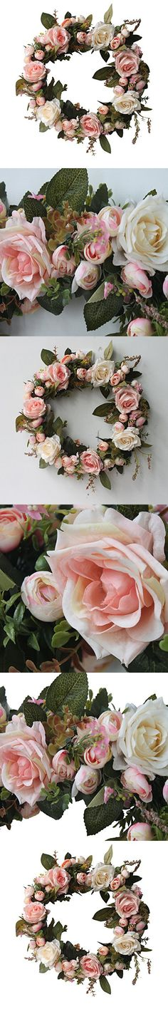 CHICHIC Flower Wreath Rose Garland for Home Wall Wedding Decoration, Rose