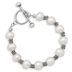 Silver Bali Bead and White Pearl Toggle Bracelet