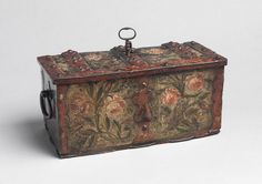Foliate and Florally Decorated Miniature Strong Box with reds.  c. 1680