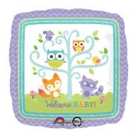 Woodland Welcome Baby Balloon features baby animals dancing around a tree. Decorate your woodland-themed party with Woodland Welcome Baby Balloon! Baby Shower Plates, Baby Shower Desserts, Baby Boy Shower, Welcome Baby Party, Welcome Baby Showers, Woodland Party, Baby Ballon, Graduation Party Supplies, Party Stores