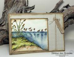 Wetlands by Hélène den Breejen: Coloured with Stampin'Up! ink on watercolor paper