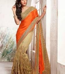 Net With Satin Pallu Saree With Blouse