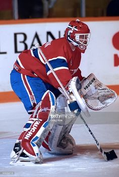 Roland Melanson of the Montreal Canadiens skates in warmup prior to a game against the Toronto Maple Leafs on December 1991 at Maple Leaf Gardens in Toronto, Ontario, Canada. Get premium, high resolution news photos at Getty Images Hockey Goalie, Hockey Teams, Goalie Mask, The Ch, National Hockey League, Toronto Maple Leafs, Montreal Canadiens, Nhl, Skates