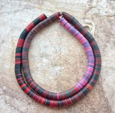 African Vinyl11 mm Vulcanite Disc Beads 33 inches by RedEarthBeads