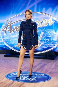 Jennifer Lopez wearing a Thierry Mugler dress with Casadei heels at American Idol's Philadelphia auditions.Styled by #RandM.