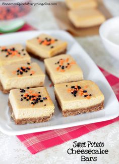 Leftover canned pumpkin from Thanksgiving? Make these! --> Sweet Potato Cheesecake Bars
