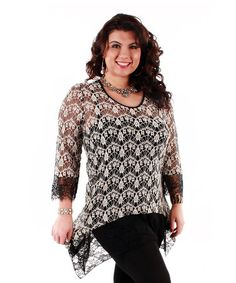 Black & White Lace Top - Plus by Lily #zulily #zulily.com finds-sized to 3XXX.  This is a great addition for the cover my arms set without adding layers of heavy fabric. I am not a fan of this fashion trend of adding material to the back of a garment it only attracts attention to areas you don't want noticed, and I am sick and tired of Chevron design, and I am not sure why there putting crosses on clothes for larger women are they telling us to pray for a weight loss system that works.