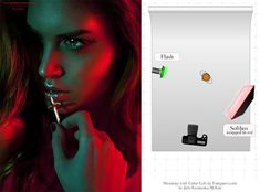 Use a beauty dish on a strobe (red) and a simple flash (green).