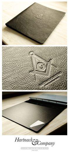 Custom leather hidden screw post portfolio.