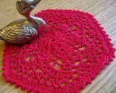 6 Inch Red Hexagon Crochet Doily, No. 74  Doily Dea Crochet  #thecraftstar