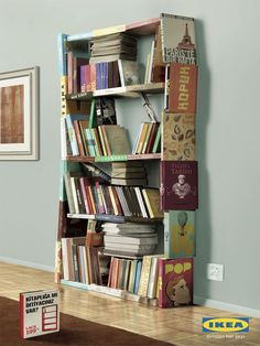Cool And Unique Bookshelves Designs For Inspiration. 26 Best DIY Bookshelf Ideas And Designs For Wall Of Bookshelves Full Diy Small Bookshelf Ikea Girls . Home Design Ideas Creative Bookshelves, Bookshelf Design, Bookshelf Ideas, Staircase Bookshelf, Bookshelf Inspiration, Modern Bookshelf, Billy Regal Upcycling, Book Furniture, Furniture Design