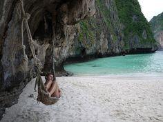 hammock, cliffs, beach, sea