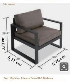 Material usado: * Metalon 50x30x18 Galvanizado Cores: Preto Branco Cinza Chumbo * Estofado Cores : Marrom Intenso Marrom Claro Vermelho Cinza * Medidas Comprimento: 0.76 cm Largura: 0.71 cm Altura: 0.73 cm Obs: Foto Modelo Fazemos sob. medida. Designer Enovador... Outdoor Furniture Sofa, Welded Furniture, Industrial Design Furniture, Office Furniture Design, Iron Furniture, Small Furniture, Home Decor Furniture, Furniture Projects, Steel Sofa