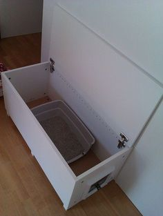 """Materials: FAKTUM Wall cabinet, HÄRLIG Door, INTEGRAL Hinge, spruce lath, & CAT flap Description: We live in a small cozy apartment and we figured out how to have and also discretely hide a cat litter box in a living room. At IKEA we bought FAKTUM Wall cabinet size 40x92cm, HA""""RLIG Door 50x92cm, and INTEGRAL Hinge … #CatRoom"""