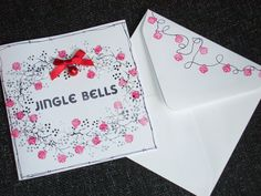 Majestix peg stamps & embellished with a little red bell & bow. Cardio Cards, Card Io, Jingle Bells, Little Red, Handmade Christmas, Stamping, Christmas Cards, Card Making, Tapestry