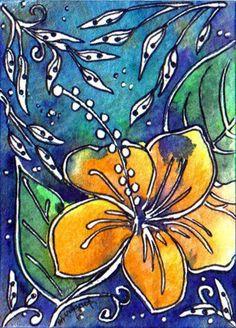 TRADED...BATIK #128 ALOHA by Margaret Storer-Roche, via Flickr Fabric Painting, Fabric Art, Batik Art, Zentangle, Silk Art, Motif Floral, Art Journal Inspiration, Art Techniques, Art Lessons
