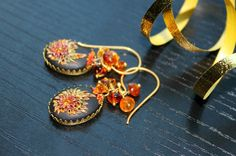 Shaded Hessonite Garnet cluster earrings with Golden Topaz crystal and clay details - Blooming in the Shadows